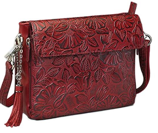 Leather Tooled American Cowhide Crossbody Organizer Bag by GTM